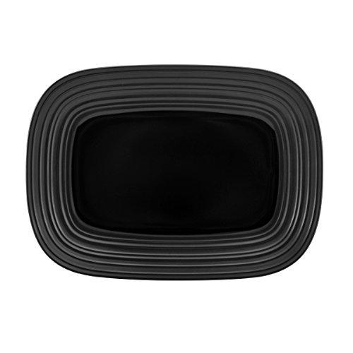 Mikasa Swirl Black Square Rectangular Platter, 15-Inch