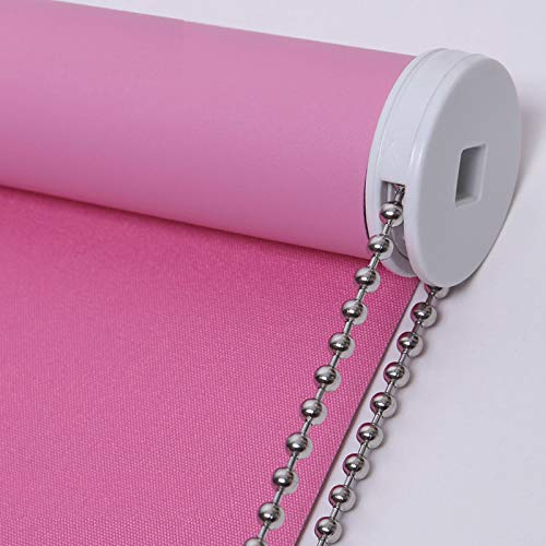 PASSENGER PIGEON Blackout Window Shades, Premium Steel Bead Chain Thermal Insulated Fabric Custom Pink Roller Blinds Shades, 35