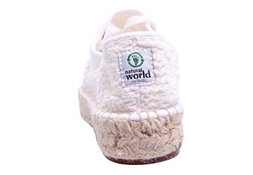 Scarpe Basse Casual Da Donna Del Mondo Naturale Stringate Di Bianco Espadrillas