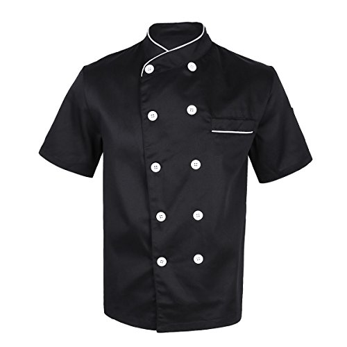 YiZYiF Unisex Men Women Short Sleeve Chef Jacket Coat Restaurant Cook Uniform Black Medium by YiZYiF
