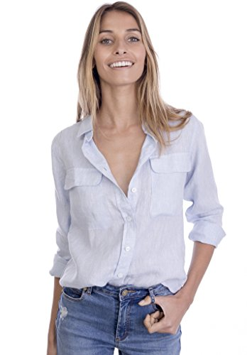CAMIXA Womens 100% Linen Button Down Shirt Casual Basic Blouse Pockets Loose Top XXL Sky ()