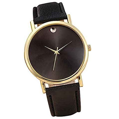 Start Women's Retro Design Leather Band Wrist Watch Bracelet (black (Gold Edge)) (Mens Leather Watches Small)