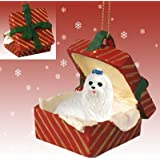 MALTESE Dog sits in a Red Gift Box Christmas Ornament New RGBD34 by Conversation Concepts