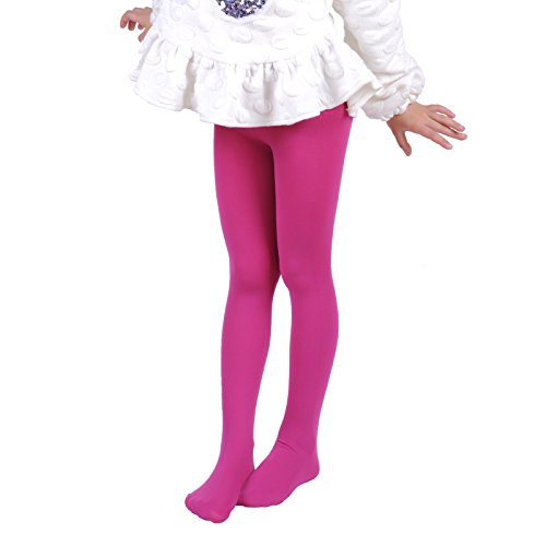 Leg Elegant Girls Microfiber Soft Opaque Solid Colored Footed Tights (2-4, Magenta)