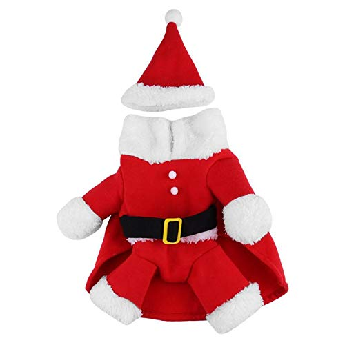 Cowmole Co. Cute Pet Santa Claus Costume Christmas Dog Clothes Puppy Dogs Coat Clothing Xmas Outfit with Hat for Dog Pet Supplies