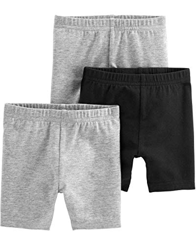 Simple Joys by Carter's Girls' 3-Pack Bike Shorts, Black, Gray, 24 Months