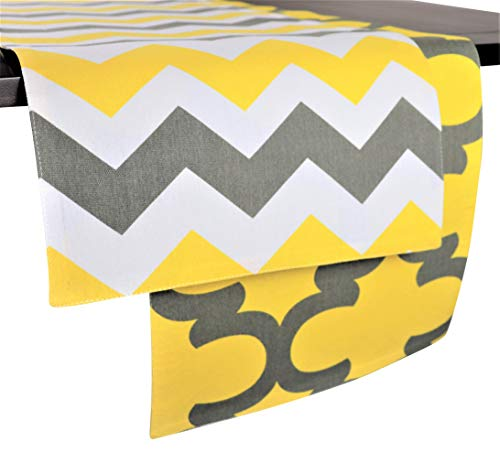 Crabtree Collection Patterned Double Sided Reversible Table Runners (12 x 90, Yellow & Gray - Chevron/Trellis)