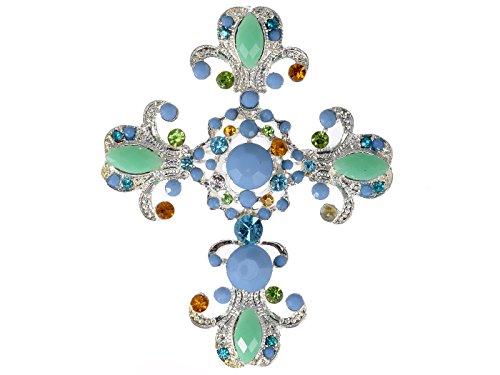 Alilang Victorian Sea Foam Sky Blue Bead Crystal Rhinestone Cross Pin Brooch