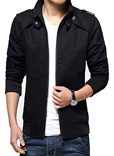 Hanglin Trade Men's Cotton Casual Wear Outwear Coat Jacket(Black-US L ()