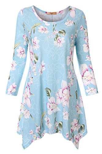 Luranee Casual Shirts for Women, Misses Dressy Tops Flowy Tunics 3/4 Sleeve Round Neck Nice Blouses Everyday Wear Outfits Stretchy Breathable Modest Zulily Clothes Dust Blue L ()