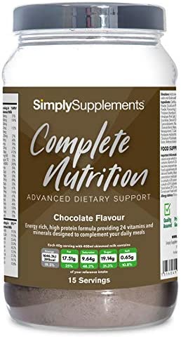 Complete Nutrition - Batido Nutrición Completa - ¡Bote para 15 raciones! - Apto para vegetarianos - 600g - SimplySupplements (Chocolate)