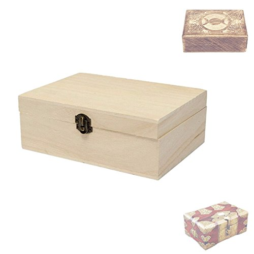Hofumix Decorative Boxes Wooden Box Jewelry Box Vintage Wood Handmade Box Wooden Unfinished Storage Box with Lid,6.9x4.9x2.6in