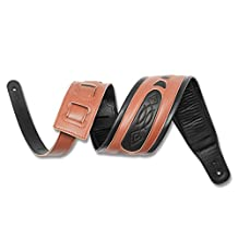 Guitar Strap, Guitar accessories Adjustable Guitar Strap Real Leather with A Shoulder Pad Strap for Bass & Padded Leather Guitar Strap For Electric Guitar, Acoustic Guitar and Bass (Brown)