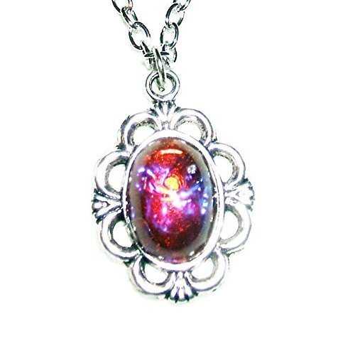 - MEXICAN FIRE DRAGONS BREATH OPAL NECKLACE Czech Glass SILVER PLTD PENDANT and CHAIN