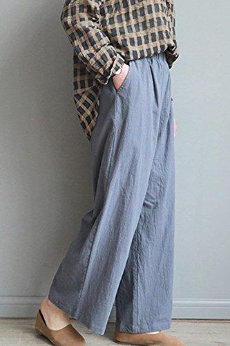 Culotte Pantalone Larghi Palazzo Tempo Elastica Estivi Glamorous Baggy Vita HaiDean Grau Elegante Pantaloni Semplice Colori Pantalone Libero Solidi Donna TxF7BaXqw