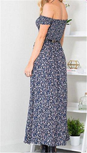 Vestidos Mujer YOGLY Vestido de Ocasional sin Tirantes de Verano Vestido de Estampado Floral Largo Azul
