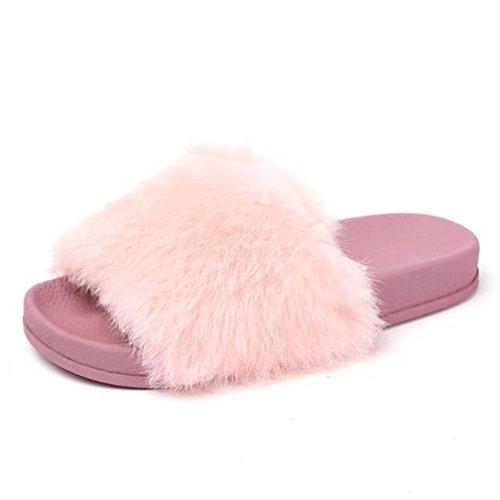 Rosa Flip Myk 7 5 Zycshang Fluffy Sandaler Tøffel Kvinners 5 Fuskepels Størrelse Flat Flop Skli q886aBH