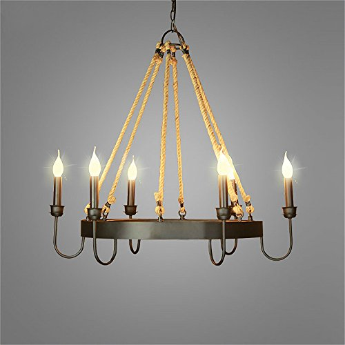 Island Wrought Iron Pendant (Ladiqi Rustic Chandelier 6 Lights Farmhouse Pendant Light Fixture Island Lighting Wrought Iron and Hemp Rope Kitchen Dining Room Living Room)