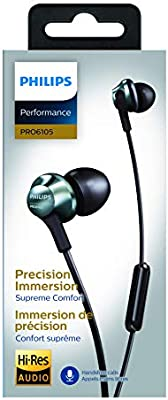 Philips Performance PRO6105 Wired Earphones with Mic HiRes Audio  Black