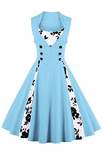 YMING Women's Polka Dot Retro Vintage Style Cocktail Party Swing Dress Light Blue (Light In The Box Party Dresses)