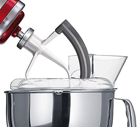 KitchenAid 5KFE5T K5FE5T-Batidor Plano Flexible para Robot de Cocina Artisan, 0 Decibeles, Metal, Gris, Color Blanco: Amazon.es: Hogar