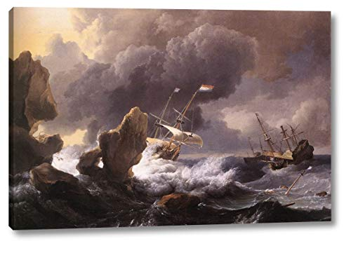 Ships in Distress Off a Rocky Coast by Ludolf Backhuysen - 10