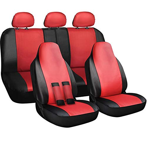 Motorup America Auto Seat Cover Full Set - Fits Select Vehicles Car Truck Van SUV - Newly Designed PU Leather - Red & Black