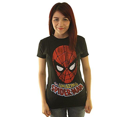 Marvel Comics The Amazing Spiderman Foil Junior's Black T-shirt M
