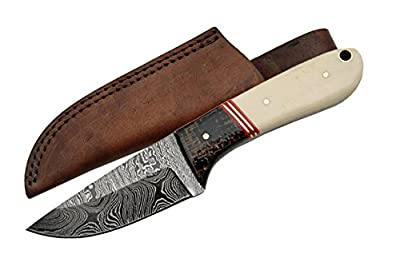 SZCO Supplies DM-1088 Damascus Hunting Knife with Micarta and Bone Handle