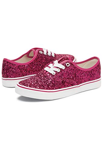 Balera Shoes Girls for Dance Womens Sneakers with Glitter Lace Up Shoes Red 6AM
