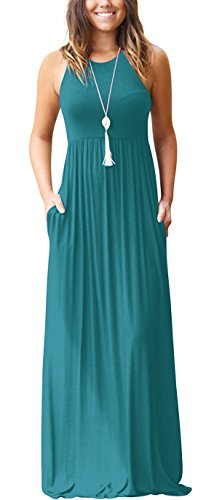 Muhadrs Women's Sleeveless Long Maxi Dresses Plus Size with Side ()