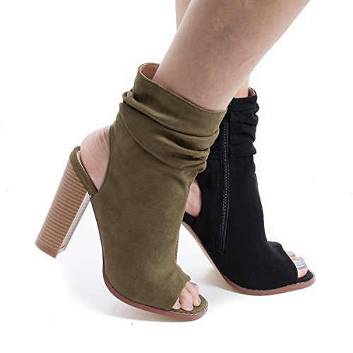 Peep Toe Slouchy Ankle Cut Out Stacked Heel Booties
