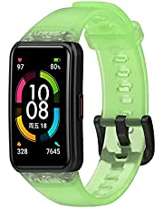 TopTen Horloge Band Compatibel voor Honor Band 6, voor Huawei Band 6 Strap, Transparant Clear Siliconen Armband Vervanging Accessoires Verstelbare Polsband