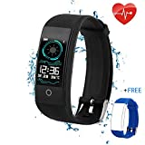 Fitness Tracker for Men Women Kids, Waterproof Color Screen Activity Tracker with Heart Rate Blood Pressure Blood Oxygen Sleep Monitor, Pedometer Watch with Step Calories Counter (QW18-black)