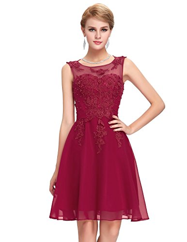 [Womens Lace Appliques Formal Party Dress with Beading,Gk063 Dark Red,12] (Masquerade Dresses For Sale)