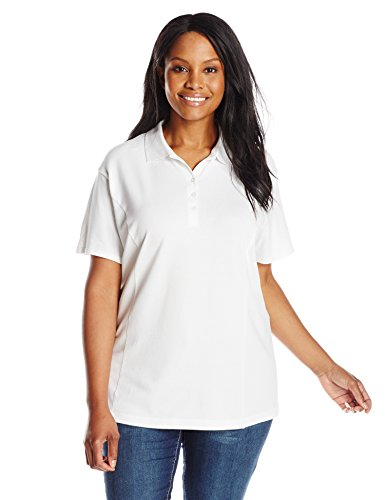 (Riders by Lee Indigo Women's Plus-Size Morgan Short Sleeve Polo Shirt, Arctic White, 4X)