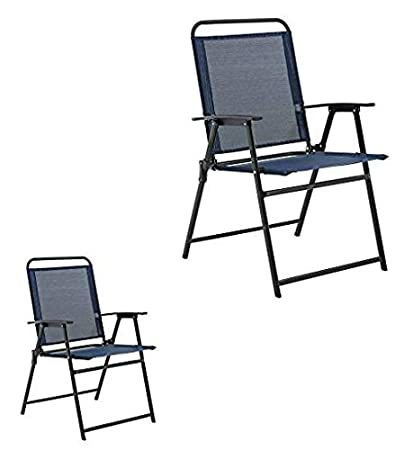 Amazing Mainstays Pleasant Grove Sling Folding Chair Set Of 2 Dark Blue Bralicious Painted Fabric Chair Ideas Braliciousco