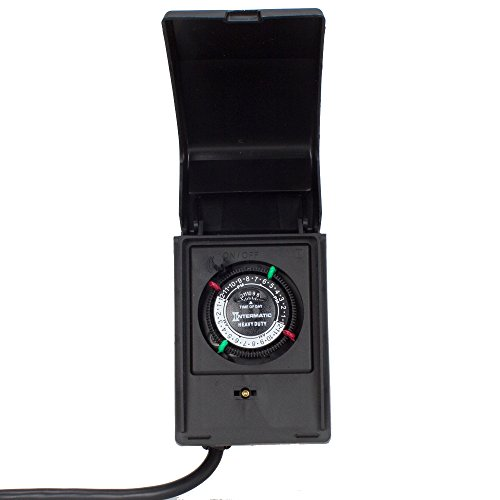 1 Outdoor Enclosure - Intermatic P1121 Heavy Duty Outdoor Timer 15 Amp/1 HP for Pumps, Aerators, Heaters, Holiday Decorations and Landscape Lighting