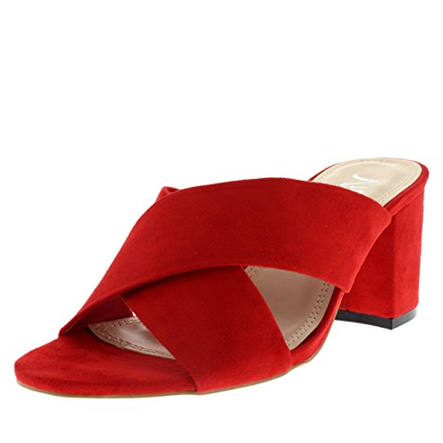 Viva Womens Open Toe Cut Out Mules Fashion Block Heel Sandal Cross Strap Heel - Red - US9/EU40 - KL0139