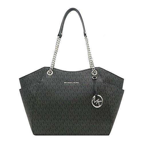 MICHAEL KORS SIGNATURE JET SET TRAVEL CHAIN SHOULDER TOTE BAG BLACK PVC from Michael Kors