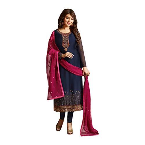 Navy Blue Muslim Designer Satin Georgette Salwar Kameez Heavy Dupatta Women Ethnic Party wear Semi-stitch 7909 3 (Punjabi Best Shayari Ever)