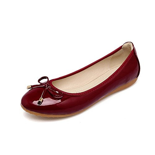 Meeshine Womens Foldable Bow Slip On Ballet Flats Dress Shoes Wine