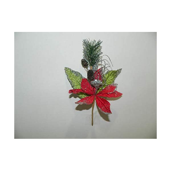 "Tanday 6 bouquets 9.5"" (#6423) christmas picks w/ poinsettia flower, pine cones & evergreen leaf – Red/Silver"