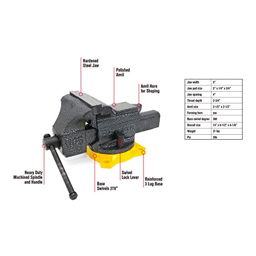 Olympia Tool Bench Vise 38-605, 5 Inches
