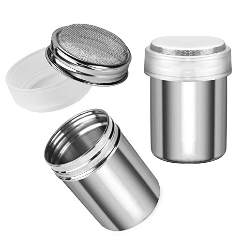 Accmor Stainless Steel Powder Shakers, Powder Shaker with Lid,Chocolate Shaker, Sifter For Sugar Pepper Powder Cocoa Flour, 2 Pcs
