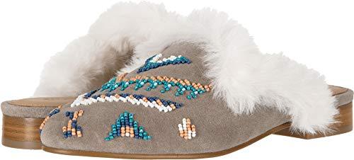 Soludos Women's Sedona Faux Fur Beaded Mule, Ash, 11 M US