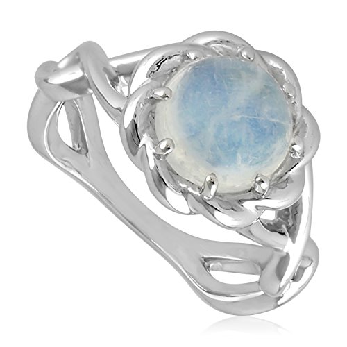 Rope Design Solitaire Ring (Natural Moonstone Sterling Silver Knotted Style Rope Edge Solitaire Ring, Size 8)