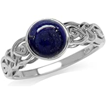 Genuine Lapis White Gold Plated 925 Sterling Silver Celtic Knot Solitaire Ring