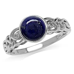 Silvershake 7mm Genuine Round Shape Lapis White Gold Plated 925 Sterling Silver Celtic Knot Solitaire Ring