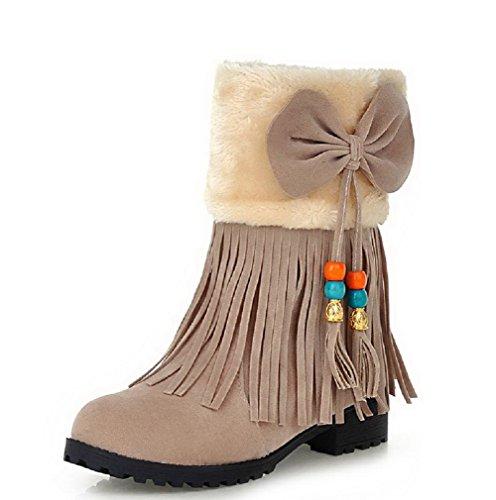 Caña Cordones Mujeres Esmerilado Mini Tacón Beige Baja Sólido AgooLar Botas Sin BFZIqxwwC
